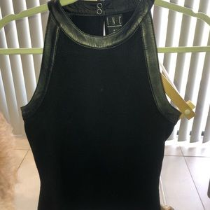 Real Silk &real leather racerback keyhole back top